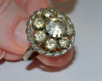 Vintage Rhinestone Ring Size 7 Adjustable