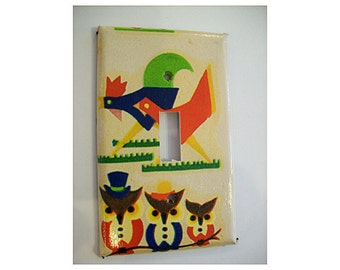 rooster switch plate retro vintage owl 1950's rockabilly kitchen mid century kitsch switch cover