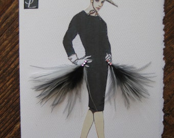 1964 Yves St Laurent Wool dress Fashion illustration note card