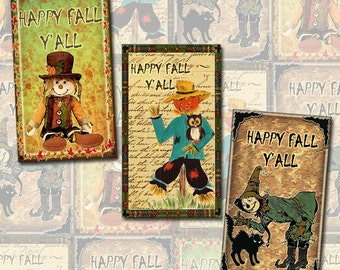 HaPPY FaLL Y'ALL-Scracecrow PRiMiTiVe Rustic Vintage Art Tags/Cards- INSTaNT DOWNLoAD- Printable Collage Sheet Download JPG Digital File