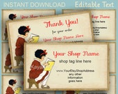 Book and School theme Shop cards or gift tags #8  business & Thank You - Art Deco 1920s 1930s theme - editable text PDF INSTANT DOWNLOAD