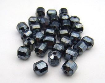 Silver glass beads, Czech shiny hematite finish octagonal faceted 6mm, 30 pcs