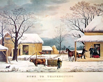 Currier and Ives - Home to Thanksgiving - 14 x 11 - 1973 Vintage Poster