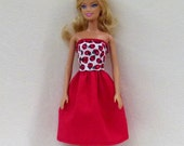 Red Barbie Liv and other fashion dolls Handmade dress