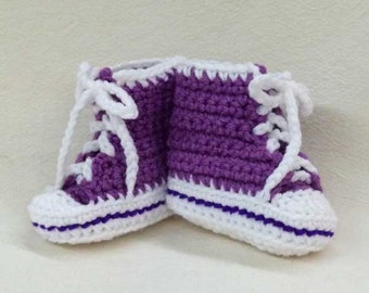 Crocheted Baby Chucks Booties Amethyst Purple High Top Sneaker you choose a size