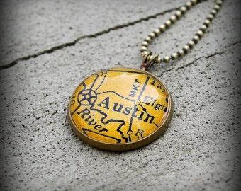 Austin Map Necklace