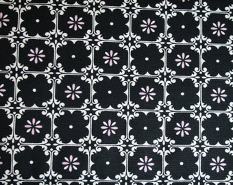 Free Spirit McKenzie by Dena Designs Fleur in Black df73-black Pink White Black Flowers cotton by the fat quarter or half yard