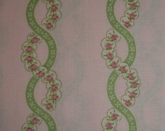 HALF YARD Verna Mosquera Sweet Escape Twisted Rose Stripe in Pink vm09-pink cotton quilt fabric