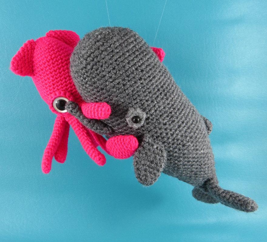 Squid vs Sperm Whale PDF amigurumi crochet pattern