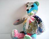 Vintage Quilt Teddy Bear Handmade