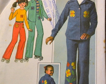 Vintage Sewing Pattern Simplicity 7812 Girls' Pants Jacket Top  Size12 Breast 30 inches  Complete
