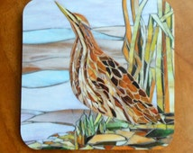 Mosaic Bittern Coaster - Mosaic Art - Bird Coaster