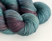"""Hand Dyed Sock Yarn - """"Charybdis"""" in Sea Green and Warm Brown - Fingering Weight"""