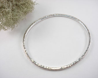 Thick Sterling Silver Bangle Bracelet, Hammered, Hand Forged Bracelet, Recycled Materials