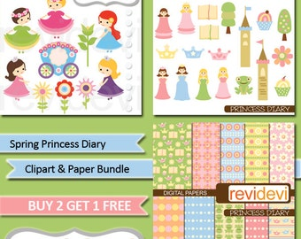 Princess clipart sale bundle / commercial use clip art, digital papers / spring princess fairytale digital download