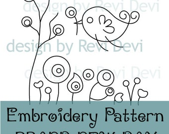 Flying bird, flowers embroidery pattern / Instant download embroidery pattern PDF / Brand New Day / hand embroidery design