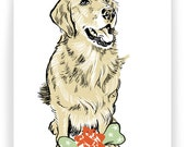 Golden Retriever with Gift - Boxed Set of 8 Cards