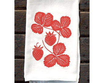 Strawberry Flour Sack Kitchen Towel