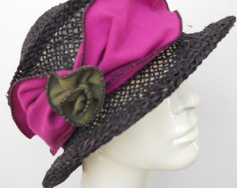 Straw Travel Hat - Black and Pink - Seagrass Straw - Removable Organic Headband - Suitcase Sally