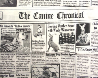 Canine Chronicle Dog Newspaper Fabric - 1 yard - Timeless Treasures 2006