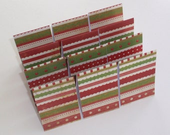 Mini Cards 12 Christmas Red Green Glitter - blank for thank you notes