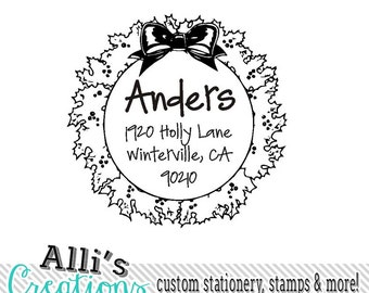 Christmas Wreath Family Return Address Stamp Self Inking Holiday Card Stamper