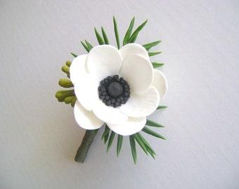 White Anemone Boutonniere. Groom/Bestman Boutonniere. Wedding Clay Flower