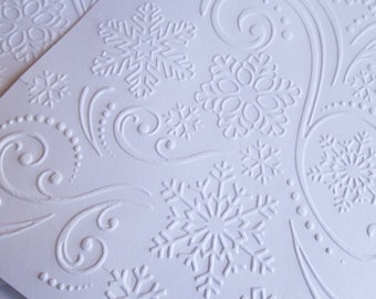 10 Snowflakes and Flurries Embossed White Cardstock Papers for cardmaking, scrapbooking, journaling, paper crafts- birthdays
