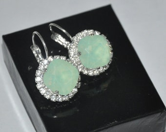 Swarovski Crystals Earrings,  Opal Earrings,  Mint Green,  Rhinestone Earrings, Green Opal, Dangle,  Lever back Earrings
