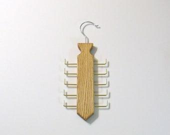 Tie  Hanger Organizer  Made Of Oak Wood