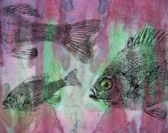 Perch and Bluegills Original GYOTAKU Fish Lake House Cottage Art on natural Batik cloth Fisherman Gift