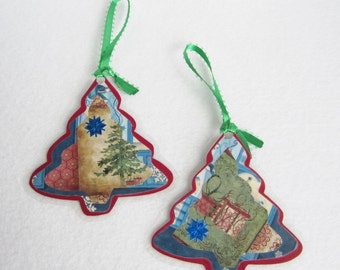 Paper Christmas Tree Ornaments, Holiday Paper Craft Ornaments, Red and Blue Christmas Decor