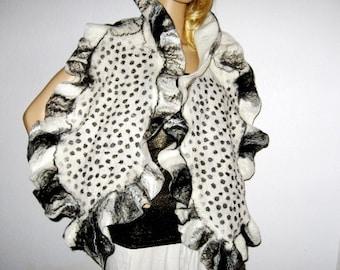 NUNO FELTED SCARF  Polka dot Black and White Merino Wool Silk shawl