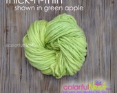 Bulky single-ply thick-n-thin yarn in green apple - perfect for hooded cocoons, chunky hats, and other newborn photo props