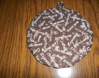 Coffee Time Quilted Hot Pad or Pot Holder Round Cotton Fabric Insulated Trivet 9 Inches