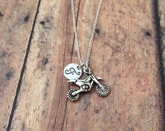 Dirt bike initial necklace - dirt bike jewelry, motocross necklace, off road jewelry, silver dirt bike necklace, motocross jewelry