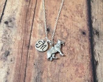 German shepherd initial necklace- German Shepherd jewelry, GSD necklace, police dog necklace, GSD jewelry, K9 necklace, police dog jewelry