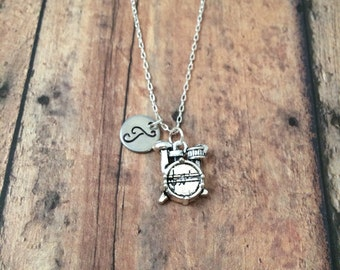 Drum set initial necklace - drum jewelry, gift for drummer, music charms, gift for musician, drum pendant, band jewelry, silver drum charm