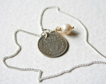 Victorian 3 Pence Sterling Silver Charm Necklace 1891 Genuine Coin