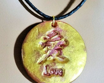 Polymer Clay Necklace, Oriental Love Symbol Medallian, Love Necklace, Black Cord