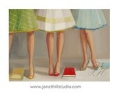 Library Ladies.  Figurative Art Print - janethillstudio