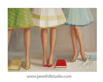 Library Ladies.  Figurative Art Print