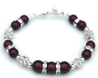 Blackberry Swarovski Pearl Rhinestone Bracelet, Winter Wedding Jewelry, Under 30, Bridesmaid Gifts