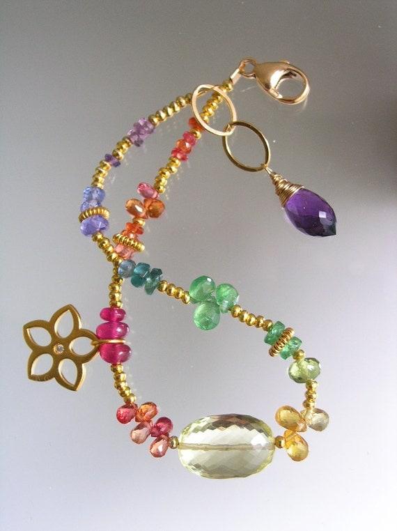 rainbow gemstone vermeil charm bracelet layering by