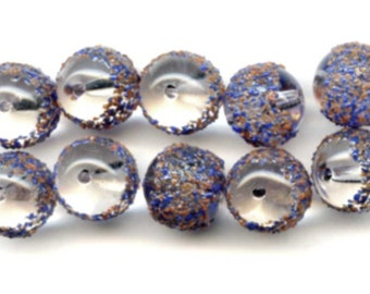 Vintage Sugar Glass Beads With Blue and Orange Frit, 9 Millimeters (10)