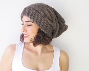 Brown Slouchy Hat with Pon Pon by Afra