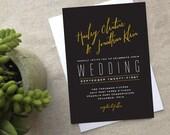 Modern Glam Wedding Invitation, Gold Black Deco Chalkboard