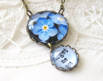 Forget Me Not Antique Brass Necklace