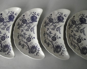 Antique Bone Dishes Blue Delft Floral Trinket Dish Set of FOUR