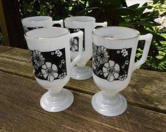 moving sale Set of Four mint condition Mod Flower Milk Glass Irish Coffee Mugs